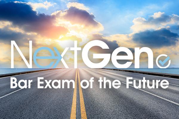 NextGen Bar Exam of the Future empty asphalt highway and blue sea nature landscape at sunset
